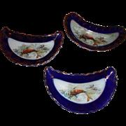 Three (3) Embellished Transferware Bone/Fish Dishes Plates 2 Marked, 1 Unmarked