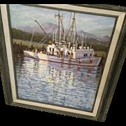 Texas Artist Hal Warnick Original Oil on Canvas of Ship/Water Scene #2