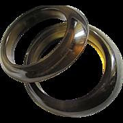 SALE Vintage Bakelite Prystal Twin Smokey Olive/Gold Bangles