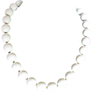 SALE Vintage Trifari Cream Bead Mid Century Choker Necklace 2 FOR 1 OFFER