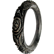 SALE Antique  Victorian Carved & Dyed Oak Bog RARE Tube Bangle Mourning Jewelry