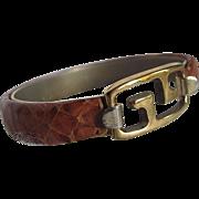 SALE 1970's Givenchy Gold Plated Logo Genuine Natural Snakeskin Snap Bracelet
