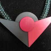 SALE 80's Gerda Lynggaard Monies Resin on Silk Cord Choker Necklace