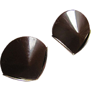 SALE ARt Deco MODERNIST Chocolate Bakelite Cone shaped Chrome Clip Earrings