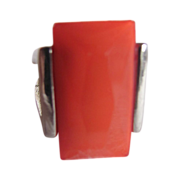 SOLD Art Deco Rare Jakob Bengel Facetted Coral Colored Galalith Large Ring