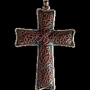 SALE Mid Century  Plique A Jour Cross Pendant