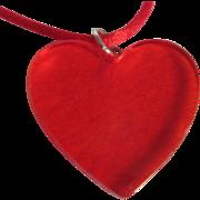 SALE Art Deco Bakelite Red Prystal Heart Pendant On Silk Cord