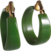 SALE Art Deco Large Hoop Green Bakelite Clip earrings