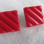 SALE Mid Century Modernist Red Lucite Square Classic Clip Earrings