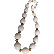 "SALE Vintage Trifari Egg shape Cream  ""Suspended Animation"" Necklace  beads"
