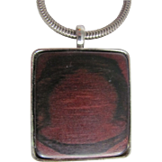 SALE 90's Signed Kenneth Lane Wood Pendant on silvertone Snake Chain