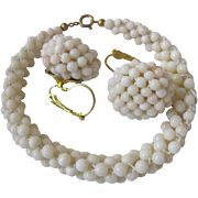 SALE Vintage Angel skin Woven Coral Demi Parure with Certified Appraisal $800