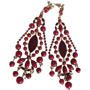 SALE Vintage Oxblood Faux Coral Cabochons & Enamelled CHANDELIER Pierced Earrings
