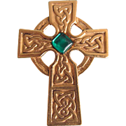 SALE Mid Century Signed Danecraft Celtic Cross with Green Cabochon Brooch  2 for 1 OFFER