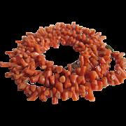 SALE Victorian Genuine Bark Salmon Coral Push Clasp NECKLACE  with Bonus Screwback Earrings
