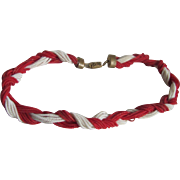 SALE WWII Unsigned Miriam Haskell Red & White Coil Braided Necklace/Bracelet