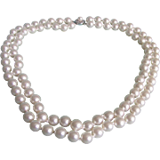 SALE Vintage Faux Pearls Double Strand with Sterling Silver Box Filagree Clasp