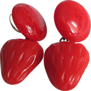 SOLD Art Deco Red BAKELITE Strawberry & Button St.Silver French Clip Earrings