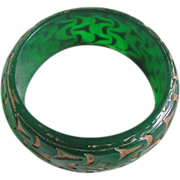 SALE 80's Resin Carved and overdyed Green Transparent  Bangle 2 FOR 1 OFFER