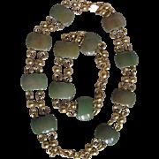 SALE Art Deco Jakob Bengel Green Galalith Link Bracelet & Necklace