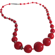 SALE Victorian Red Coral Glass Graduated with Crystal spacers Necklace