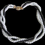 SALE Vintage Signed Ciner White Conch & Black Coral bead Torsade Necklace