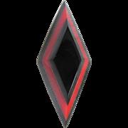 SALE Art Deco Galalith Layered Red & Black Geometric Brooch- possible Jacob Bengel