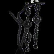 SOLD Vintage French Jet Black Glass Dangling duster Pierced Earrings