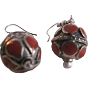SALE Vintage Hand Crafted Red Coral Inlaid Boho Chic Style Pierced Dangling Earrings