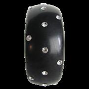 SALE Art Deco Black Bakelite Rhinestone Embedded Zigzag Bangle