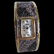 SALE 80's NOS Xanadu Faux Snake Skin Quartz Cuff watch in working order
