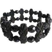 SALE Victorian Mourning Carved Black Genuine Whitby Jet with French Jet Bead Stretch Bracelet