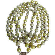 SALE Art Deco Flapper Celluloid Pearlized Yellow Bead Necklace