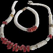 SALE Vintage Red Branch Coral & White Coral Heishi Bead Set of Necklace & Bracelet