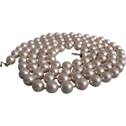 """SALE Vintage Marvella High Quality Hang Tag and Hand Knotted Faux Pearl 36"""" Opera Necklac"""
