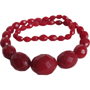 SALE Art Deco Red Galalith Facetted Carved Bead Choker Necklace