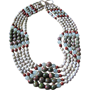 SALE Vintage Quartz, Serpentine Chalcedony & Agate Bead 5 Strand Necklace with Certified Appra