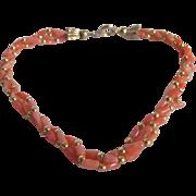 SALE Vintage Mediterranean Angel Skin Coral with GP Spacer Triple Strand Twisted Bead Bracelet
