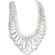SALE Vintage White Italian  Coral Lace Design Necklace with a Certified Appraisal $1500