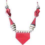 SALE Art Deco Jakob Bengel Galalith Burgundy & Brass Necklace