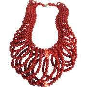 SALE Vintage 14kt Mediterranean  Salmon Red Coral Lace Pattern Necklace - Certified Appraisal