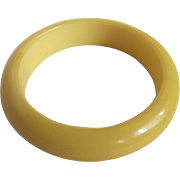 SALE Art Deco Galalith Butter Yellow Milk Plastic Bangle