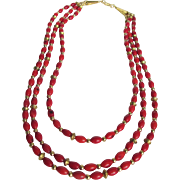 SALE Vintage Appraised $790 Italian Enhanced Red Coral Triple  Necklace