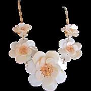 SALE Vintage MOP Disc Graduated Flower Necklace