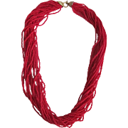 SALE 1947 Occupied Japan Natural Red Coral Seed bead Torsade Necklace with Certified Appraisal