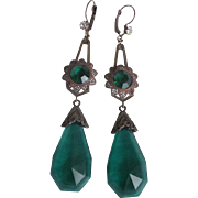 SOLD Vintage Art Nouveau Style Stamped Brass & Emerald  Glass Leverback Earrings