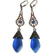 SALE Vintage Art Nouveau Style Stamped Brass & Sapphire Blue  Glass Leverback Earrings
