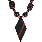 SALE Art Deco Unsigned Jakob Bengel Red & Black Galalith & Brass Necklace