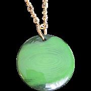 SALE Art Deco Bakelite Prystal Green & Black Swirl Round Pendant with Brass Chain Necklace