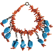 SALE WWII Unsigned Miriam Haskell Genuine Branch Coral and Glass Faux Turquoise Bracelet